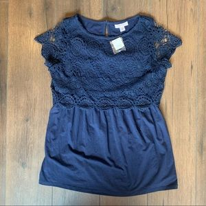 NWT Motherhood Maternity Crocheted Lace Navy Top